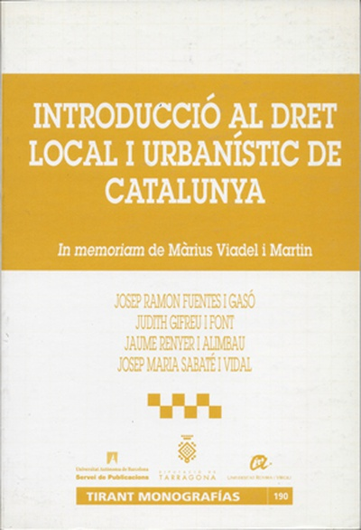 Introducci— al dret local i urban'stic de Catalunya